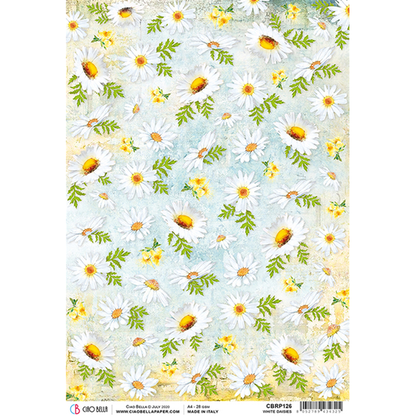 ciao bella rice paper for decoupage white daisies