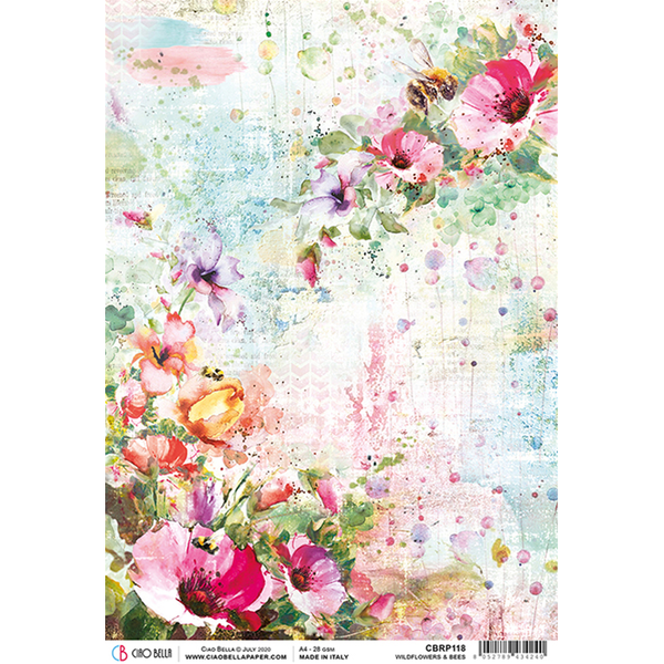 ciao bella rice paper for decoupage wildflowers & bees