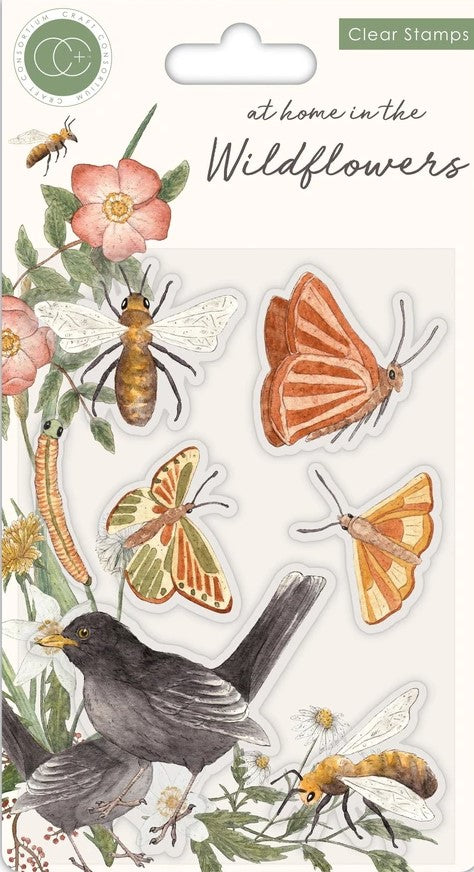 Craft Consortium Acrylic Stamp At Home in the Wildflowers Bees and Butterflies