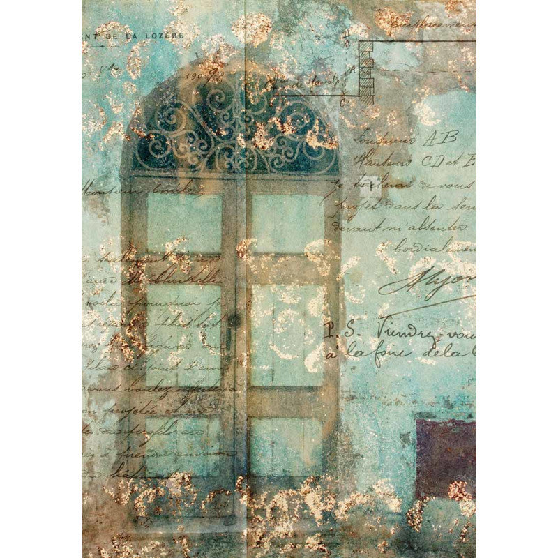 Decoupage Queen Antique Door With Scrollwork Rice Paper A4 0016