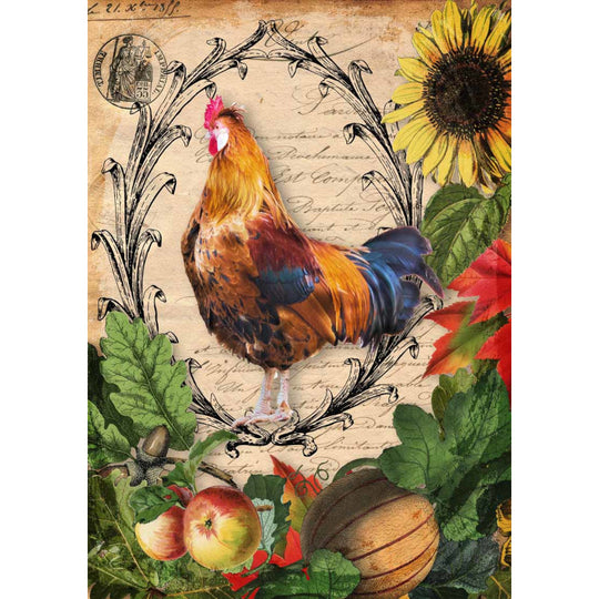 Decoupage Queen Autumn Rooster with Harvest Vegetables Rice Paper A4