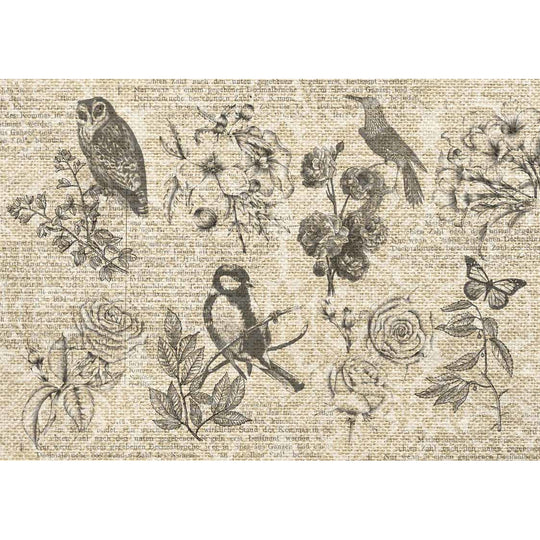 Decoupage Queen Burlap Flying Things Rice Paper A4 0091