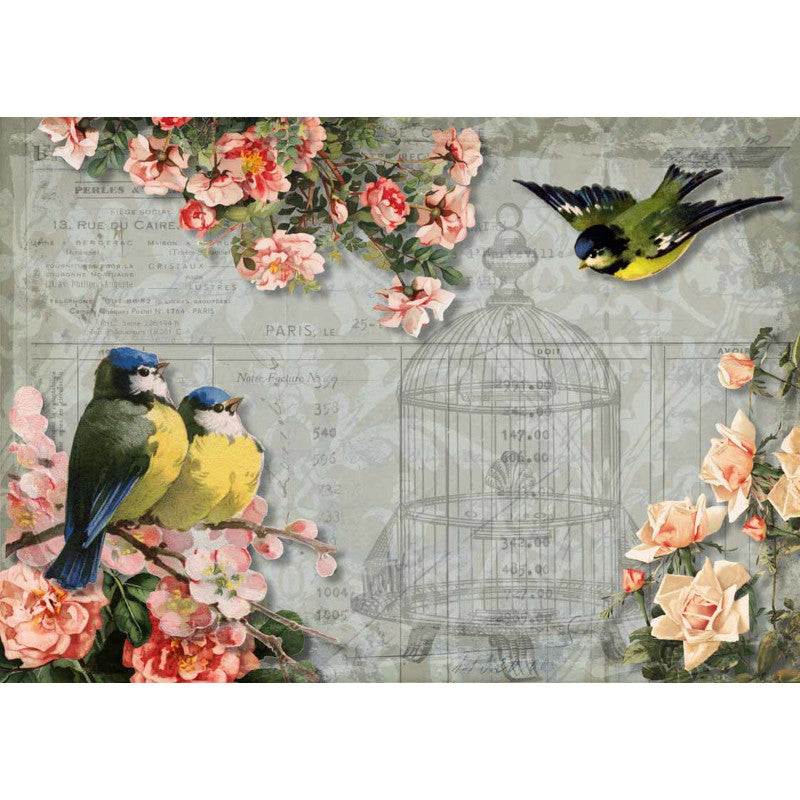 Decoupage Queen Chickadees and Roses with Birdcage Rice Paper A4 0025