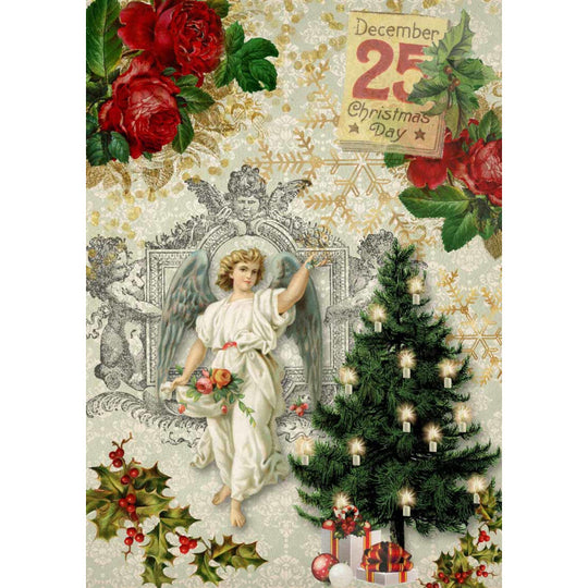 Decoupage Queen Christmas Angel with Tree Rice Paper A4 0060