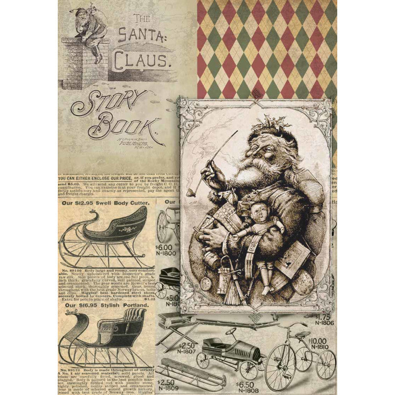 Decoupage Queen Christmas Santa Story Book Rice Paper A4 0061