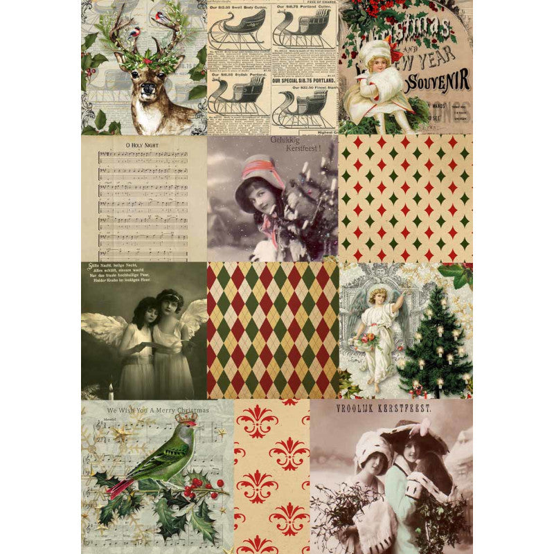 Decoupage Queen Christmas Squares Rice Paper A4 0059