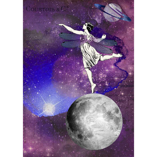 Decoupage Queen Dancing on the Moon Rice Paper A4 0073