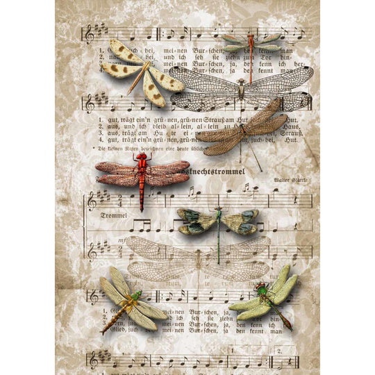 Decoupage Queen Dragonflies on Sheet Music Rice Paper A4 0032