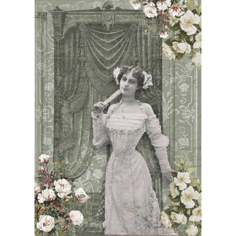 Decoupage Queen French Lady in Green Room Rice Paper A4 0012