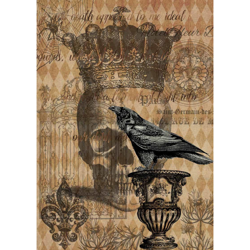 Decoupage Queen Hallowe'en Raven with Skull and Gate Rice Paper A4 0041