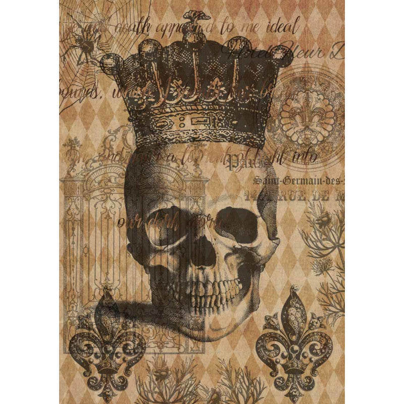 Decoupage Queen Hallowe'en  Skull with Crown Rice Paper A4 0043