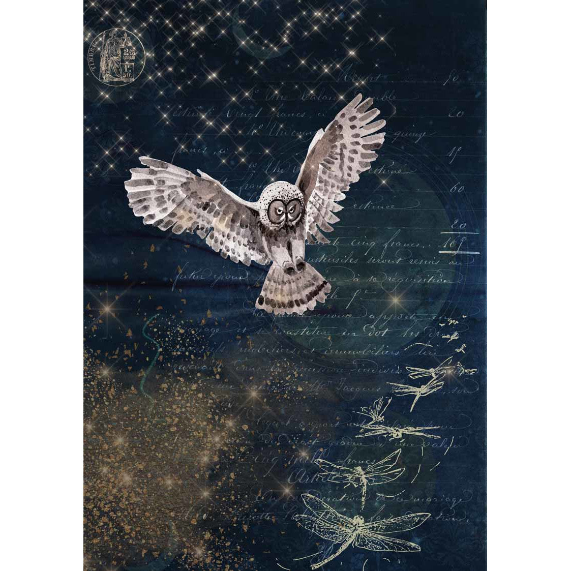 Decoupage Queen Karin's Night Owl Rice Paper A4 0094