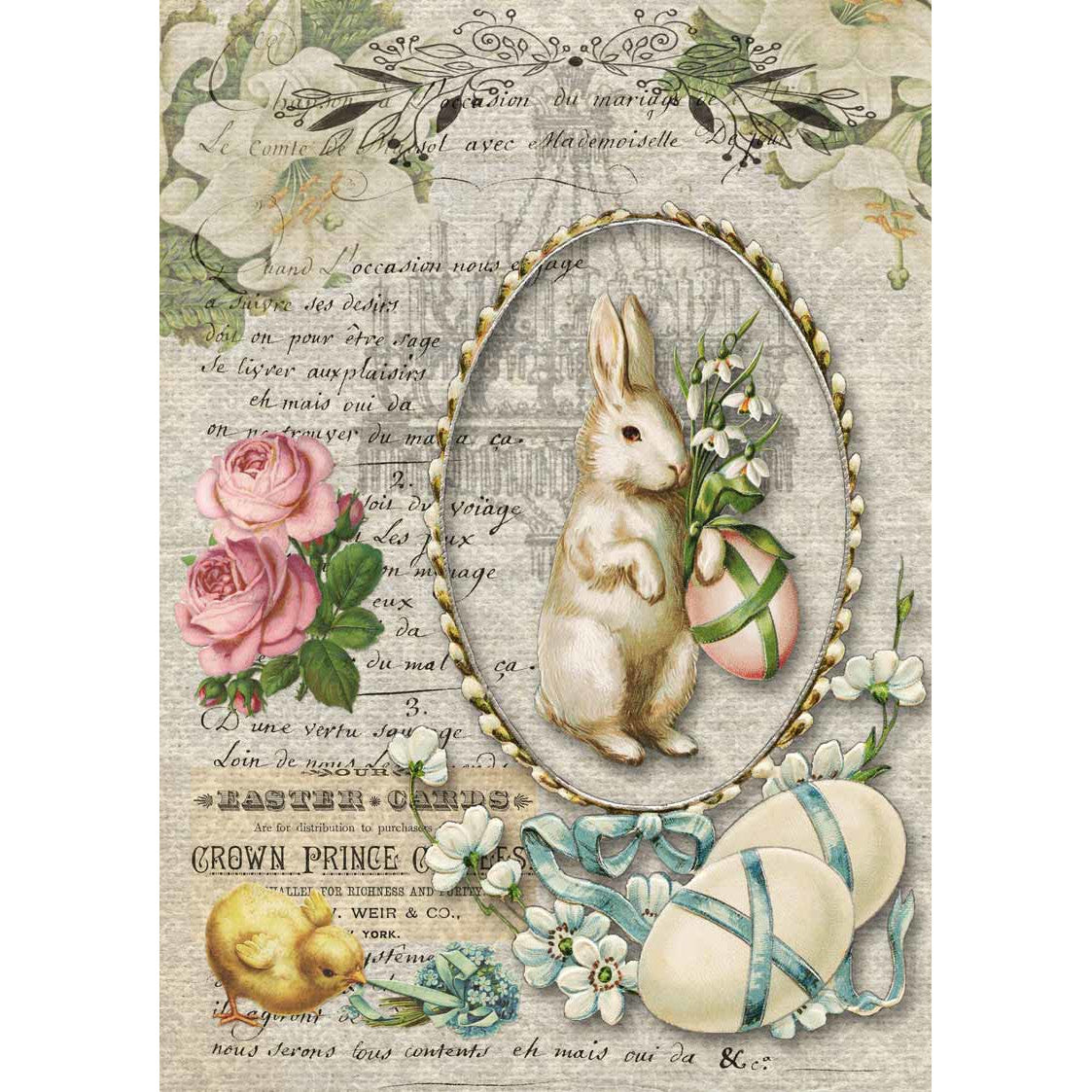 Decoupage Queen Nancy's Spring Bunny Rice Paper A4 0102