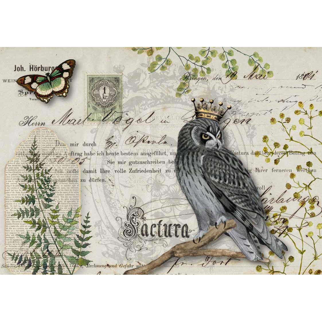 Decoupage Queen Owl Botanicals Rice Paper A4 0092