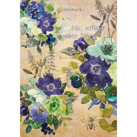 Decoupage Queen Watercolor Blue and Green Floral Rice Paper A4