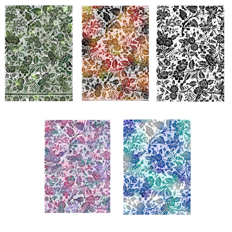Ninny's Floral Backgrounds Set - Digital Download A4