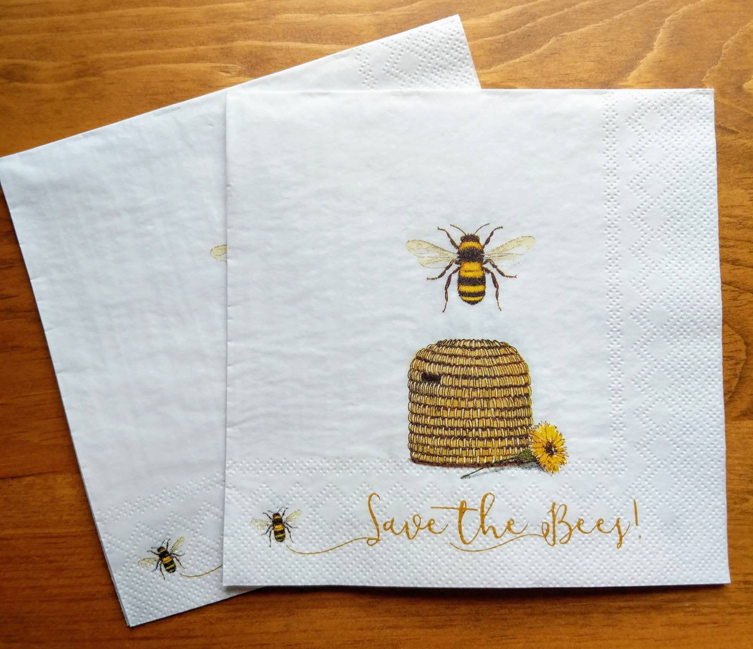 Save the Bees - Ninnys Napkins for decoupage
