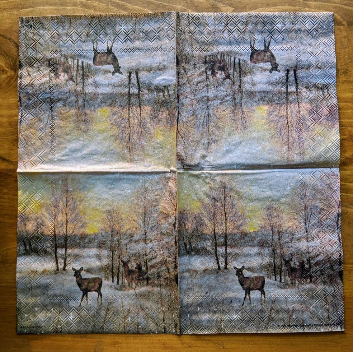 Deer at Sunset - Ninnys Napkins for decoupage