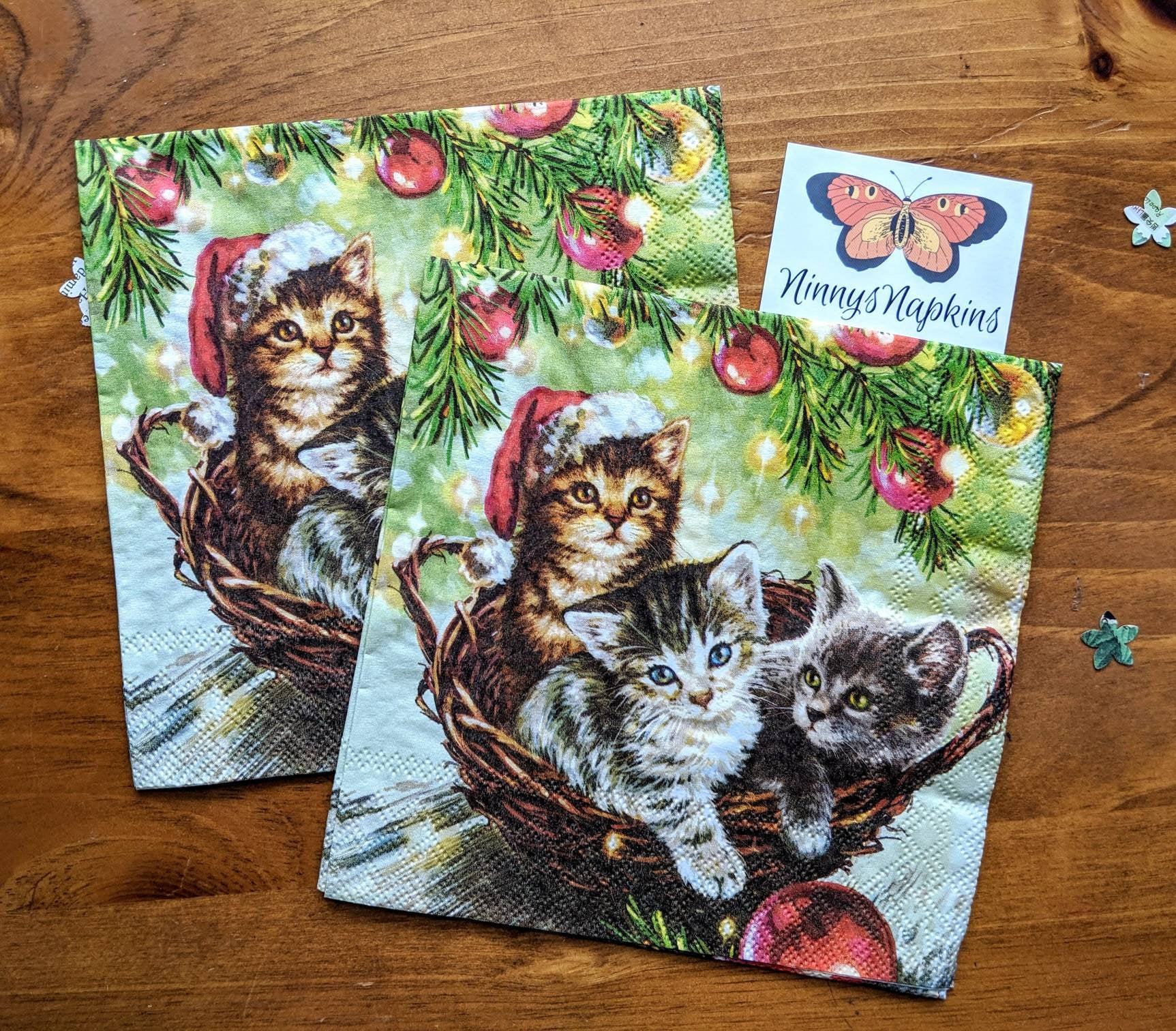Cats in Basket - Decoupage Napkins