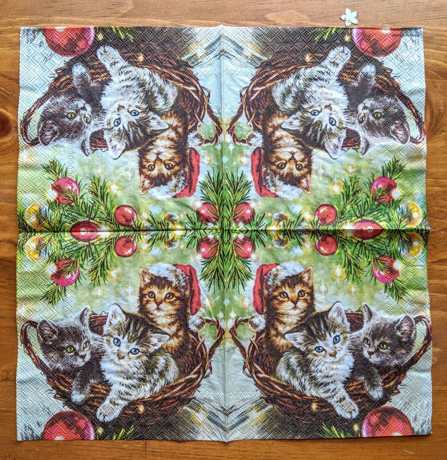 Cats in Basket - Ninnys Napkins