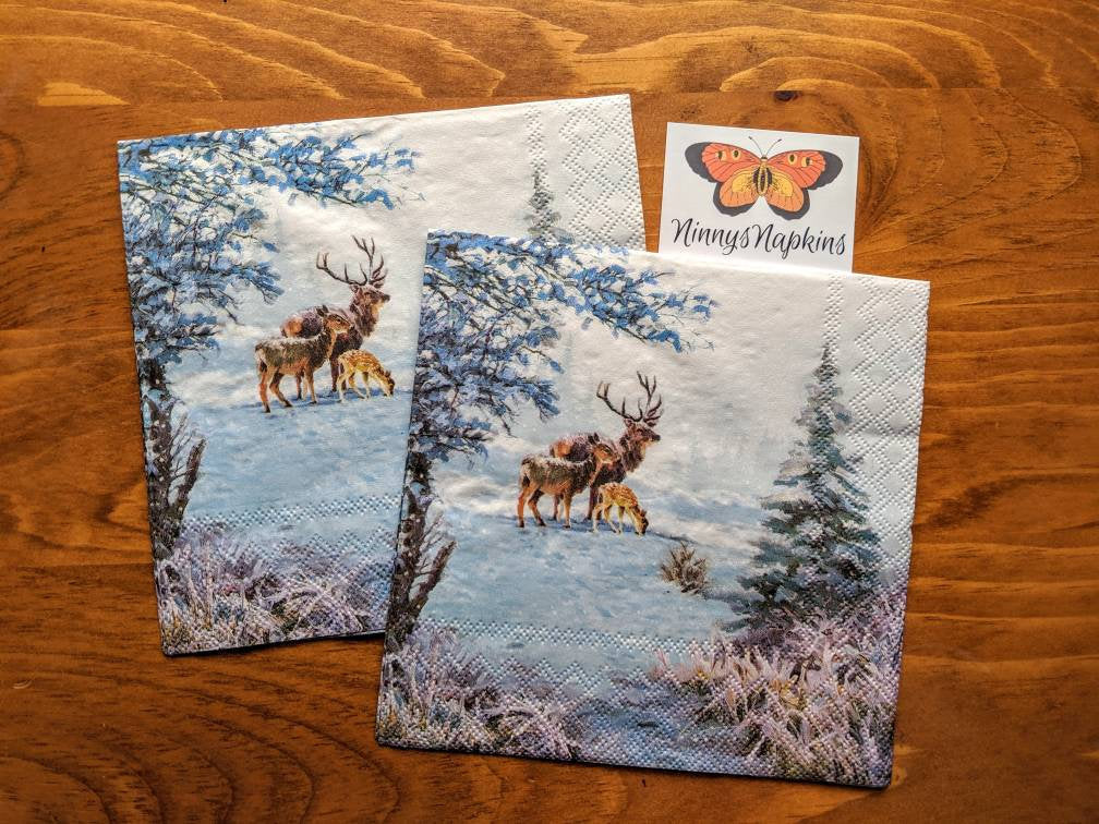 Deer Family - Decoupage Napkins