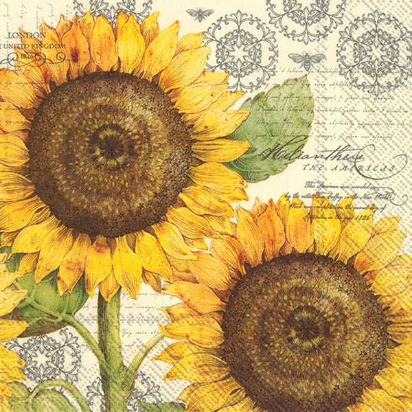 botanical sunflower decoupage napkins