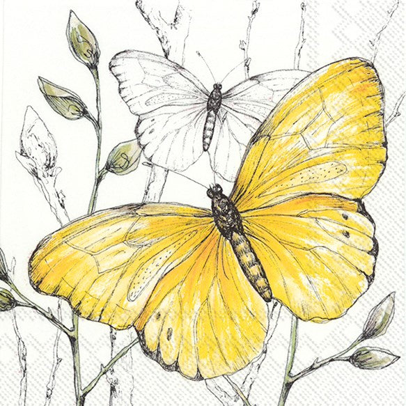 colourful butterflies yellow decoupage napkins
