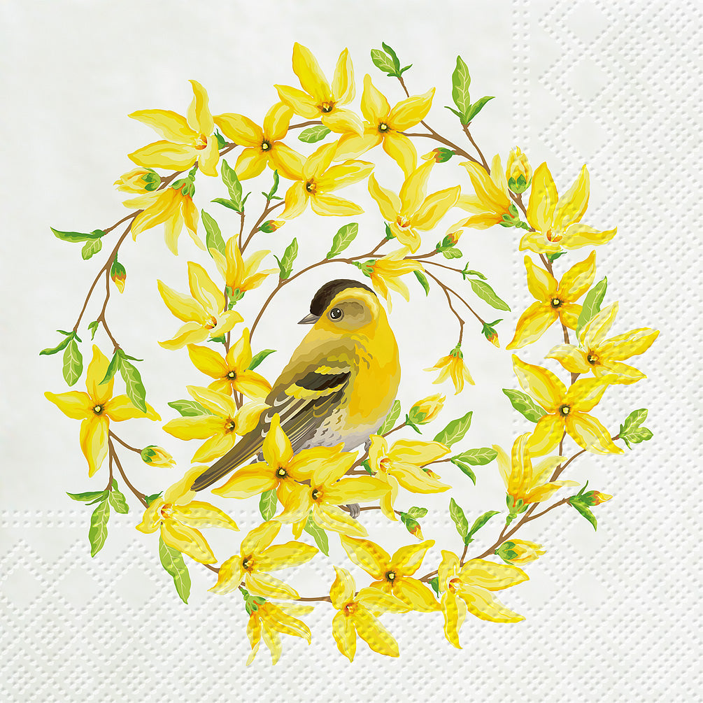 napkins for decoupage forsythia and bird