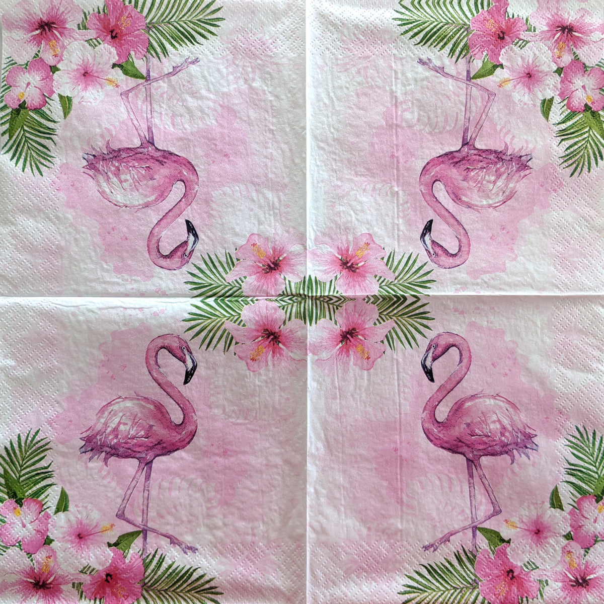 Watercolour Flamingo and Hibiscus Flowers Decoupage Napkins
