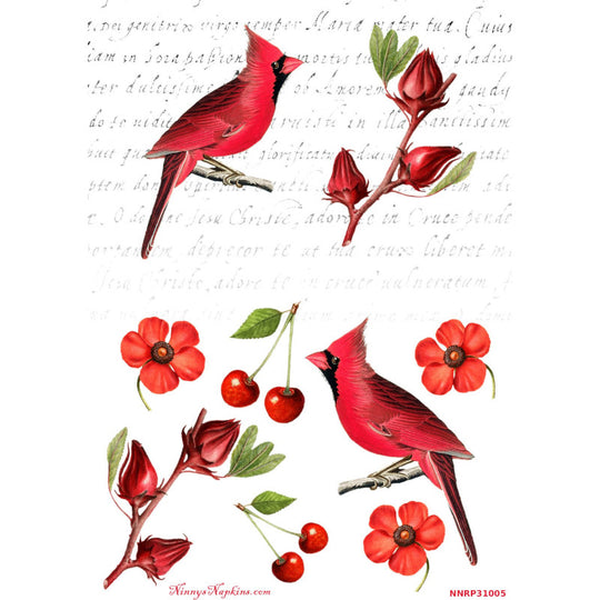 Ninny's Cardinals Are Red Rice Paper