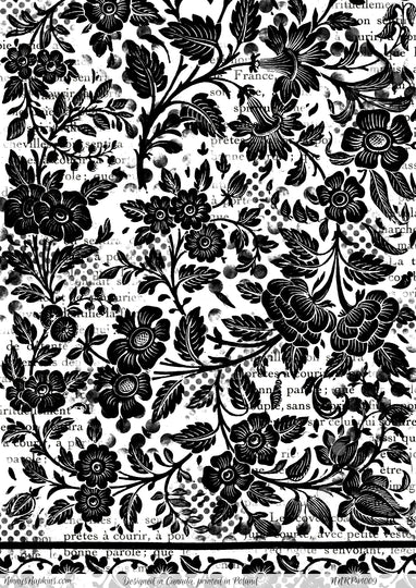 Ninny's Black and White Floral Paper for Decoupage
