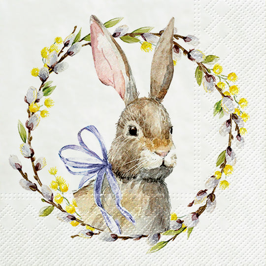 Rabbit with Catkins Napkins for Decoupage