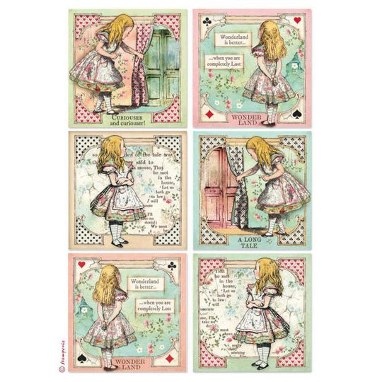 Stamperia Alice Cards rice paper for decoupage
