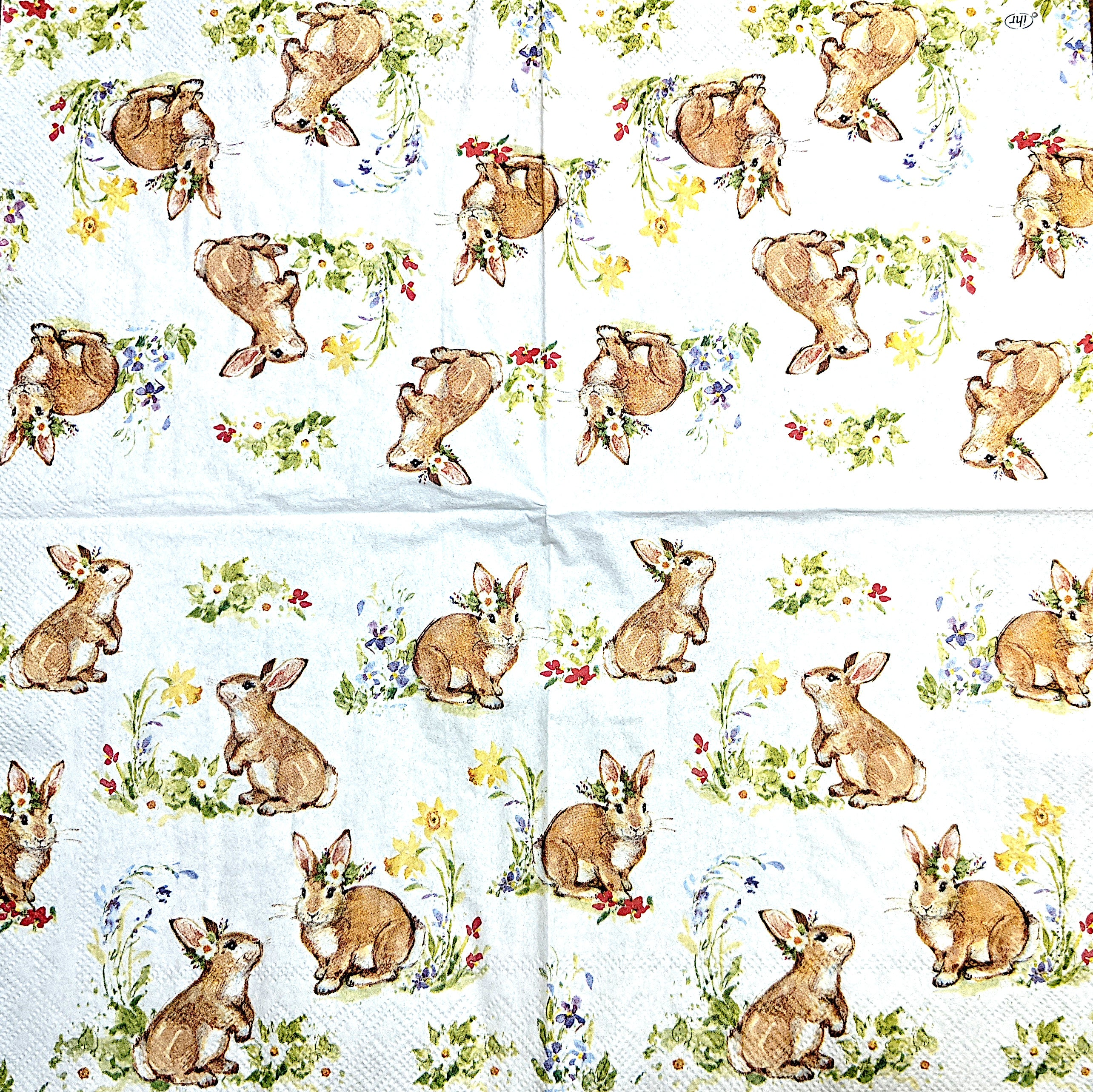 Sweet Lovely Bunnies Napkins for Decoupage