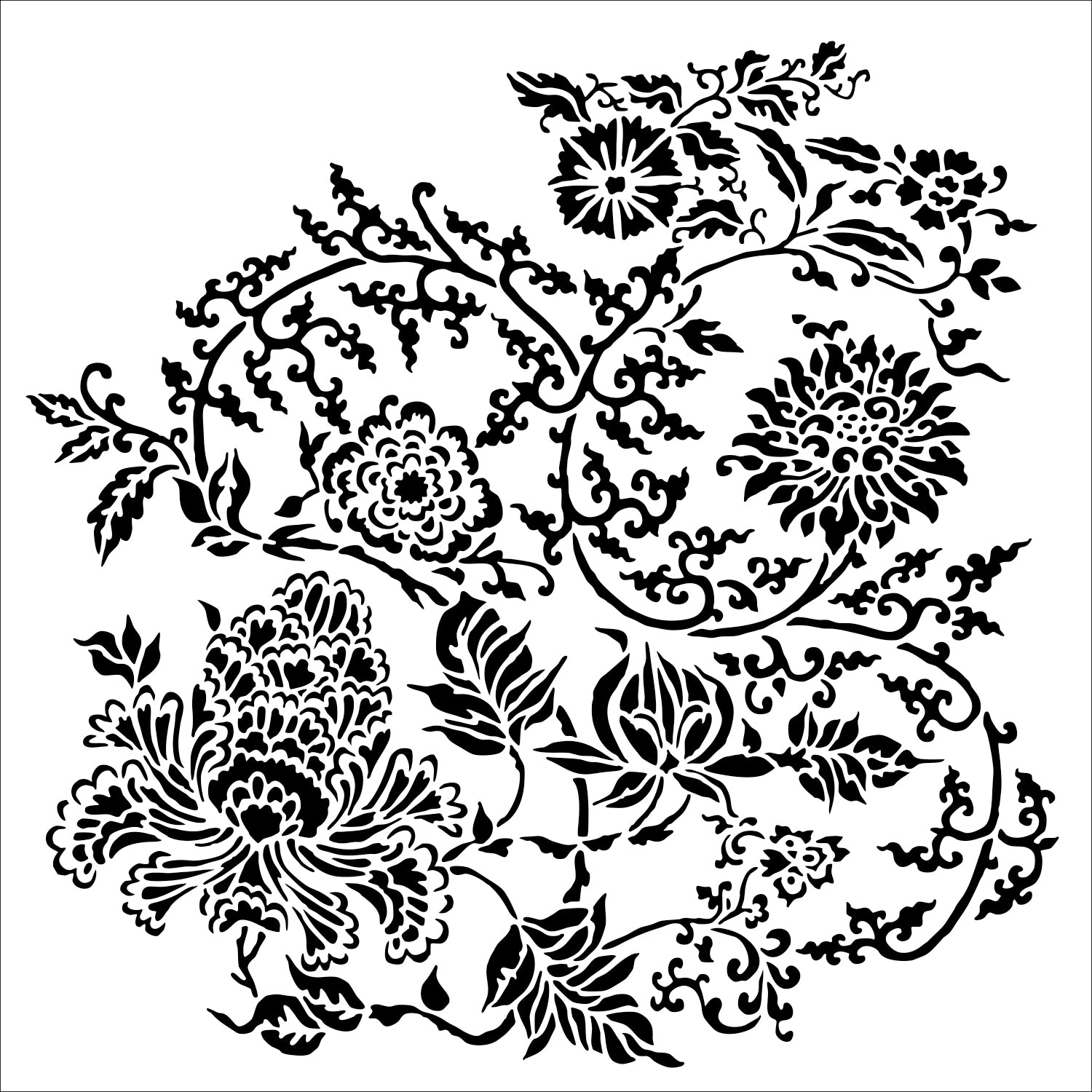 TCW The Crafters Workshop Asian Florals Stencil