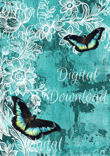 Ninny's Teal with Butterflies Digital Download A4