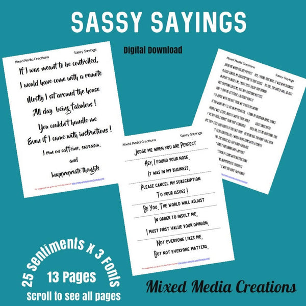 Sassy Sayings Sentiment Pack