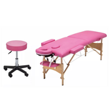 2pc Lash Extension Bed & Stool - Pink, Black
