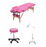 3pc Lash Extension Bed, Chair & Light - Black, Pink