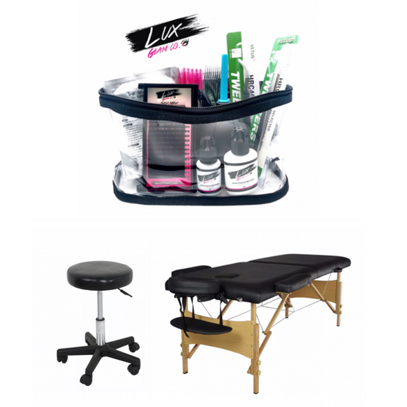Eyelash Extension Kit + 2pc Furniture Set (Bed & Stool) - Black