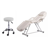 2pc Lash Extension Bed & Stool - Black, White