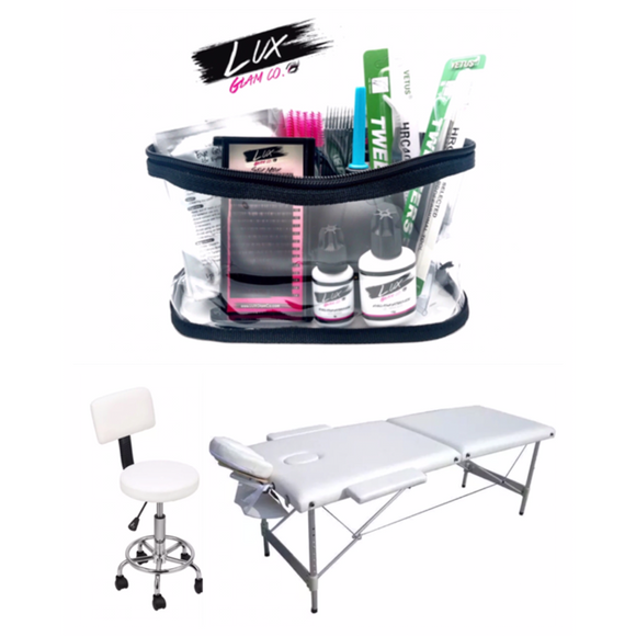 Eyelash Extension Kit +2pc Furniture Set (Bed & Stool) - White, Black
