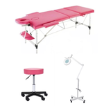3pc Lash Extension Bed, Stool & Light - White, Black, Pink