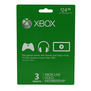 Microsoft Subscription Card Xbox Live 3 Month Gold Xbox 360