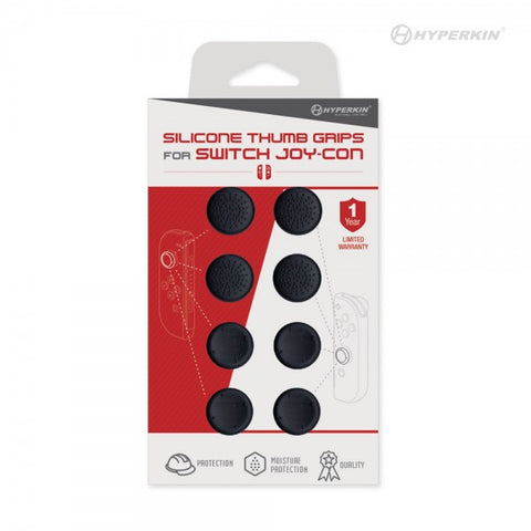 Hyperkin Silicone Thumb Grips for Switch Joy-Con (Neo Black) (8-Pack)