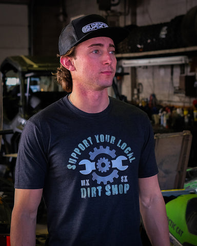Supercross Motocross Tshirt | Support Your Local Dirt Shop Black