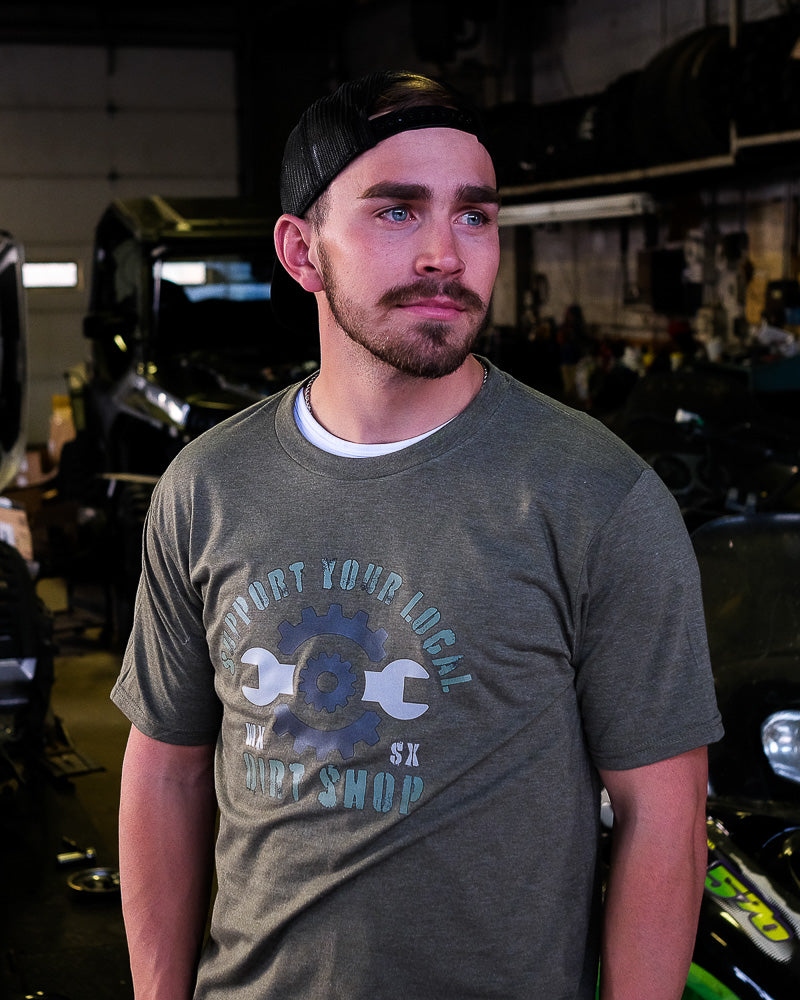 Supercross Motocross T-Shirt | Support Your Local Dirt Shop Military Green