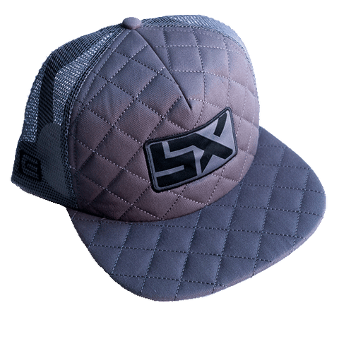 Supercross Trucker Hat | Quilted Style - Gray Trucker Snapback