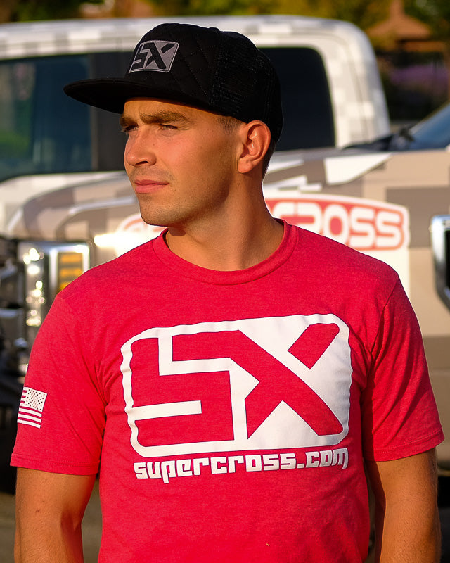 Supercross Trucker Hat | Quilted Style - Black Trucker Snapback