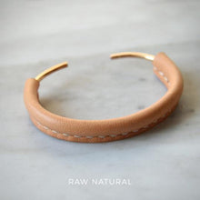 Load image into Gallery viewer, TALOUHA LEATHER AND BRONZE CUFF BRACELET